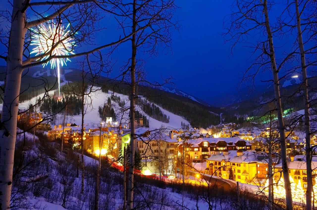 Nightime shot of Beaver Creek Ski Resort, CO