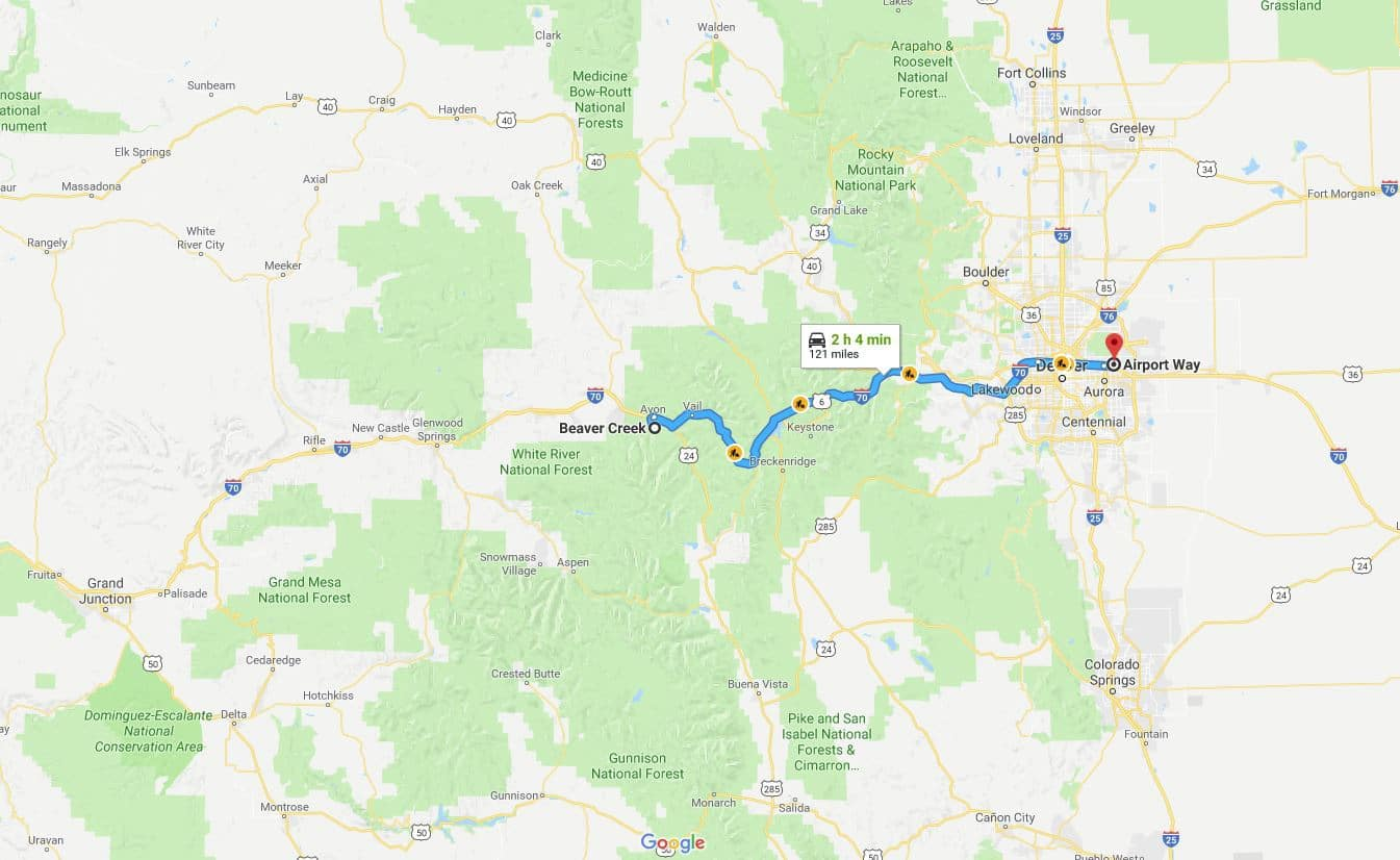 Map showing travel route from Denver International Airport to Beaver Creek