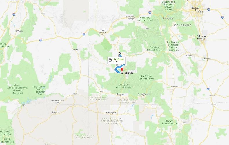 Telluride Ski Resort To Montrose Airport Map SkiBookings.com