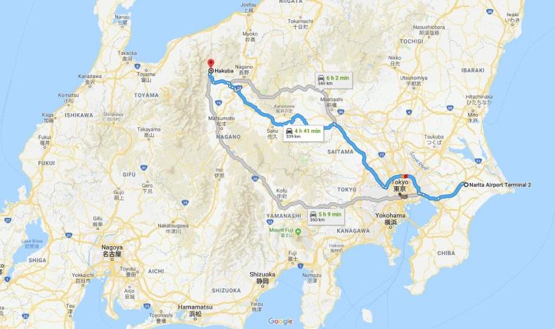 Narita Airport to Hakuba Map SkiBookings.com