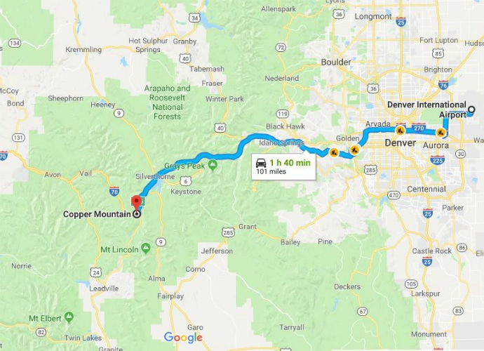 Copper Mountain Ski Resort To DIA Google Maps SkiBookings.com