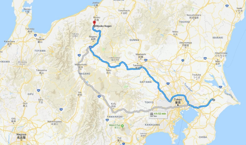Screenshot of route map from Tokyo to Myoko Kogen from Google Maps