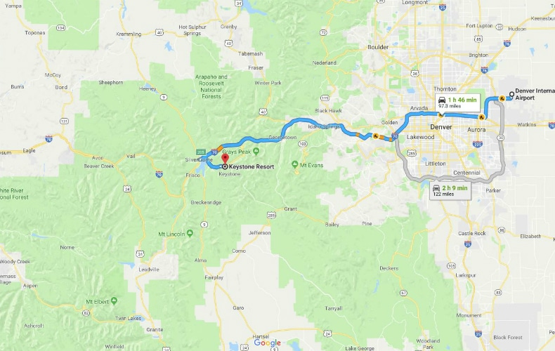 Map showing rout to drive from Denver International Airport to Keystone Ski Resort