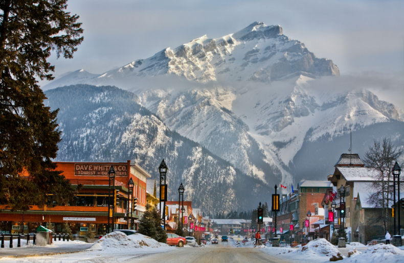 Town of Banff main street Winter SkiBookings.com