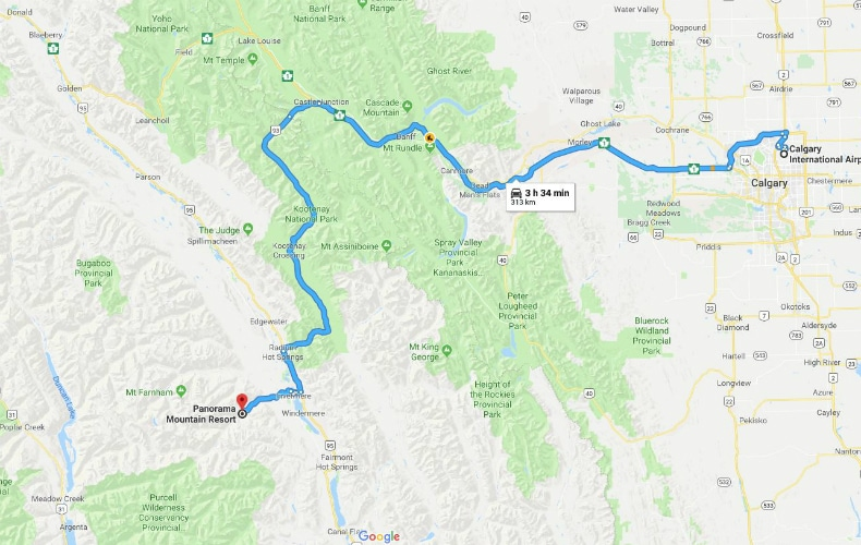 Panorama Mountain Resort Google Map From Calgary SkiBookings.com