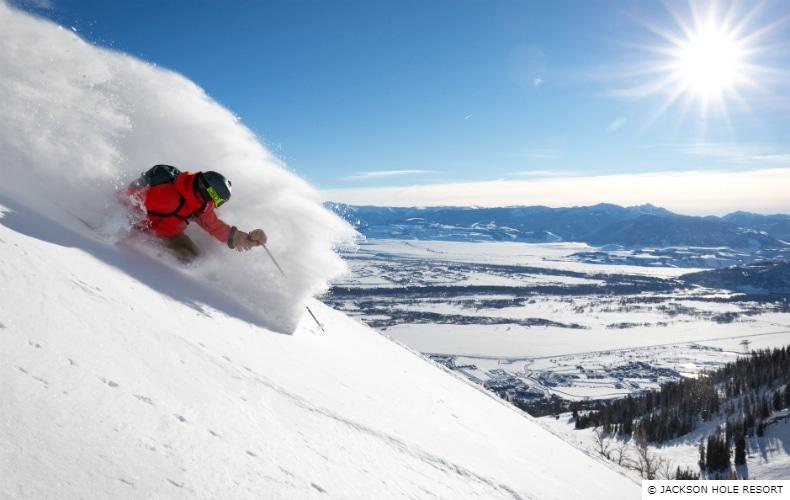 Skier in red at Jackson Hole Ski Resort in Wyoming