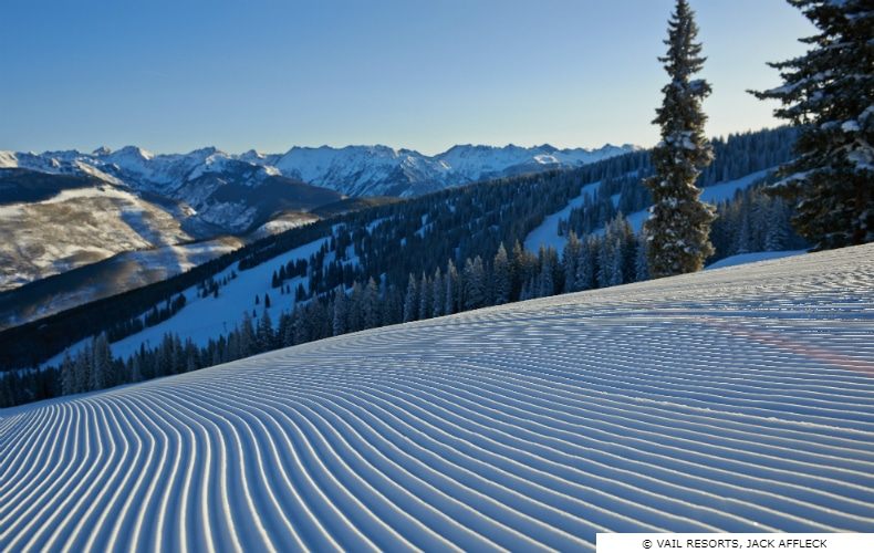 Freshly groomed ski run at Vail, Colorado