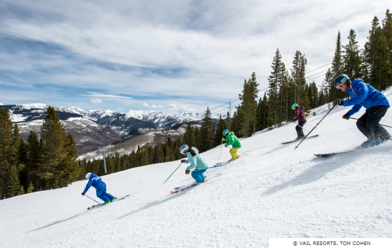 Group of five learner skiers at Vail Ski Resort in Colorado