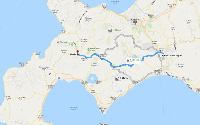 Tokyo Haneda Airport to Nozawa Onsen, Map SkiBookings.com